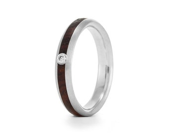 Wood Engagement Ring, wood and diamond rings UK