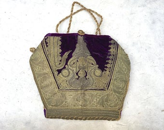 Vintage Velvet Middle Eastern Purse | Gold Soutache Embellished Velvet Morrocan Clutch | Cocktail, Evening, Ottoman