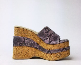 90's Snake Shimmer and Cork Wedge Platform Sandal Mules // 6.5 - 7
