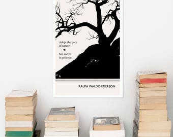 "Literary Art Prints, ""Ralph Waldo Emerson""  Minimalist Poster, Modern Large Wall Art Print, Illustration, Typography Literary Gifts"