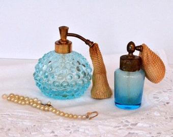 Vintage Blue Perfume Bottle Hobnail Atomizer Boudoir Vanity  1960s (set of 2)