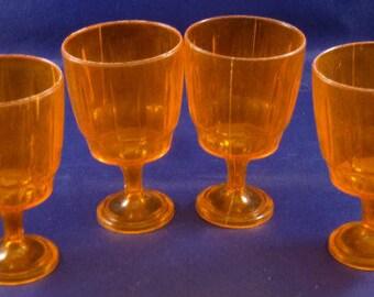 Vintage Plastic Clear Orange Children's Pretend Play Goblet Glasses, 1960s (Qty 4)
