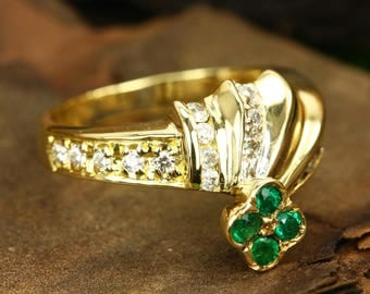18K Colombian Emerald & Diamond Ring, Four Leaf Emerald Ring, Natural Emerald Ring, May Birthstone, May Anniversary Ring