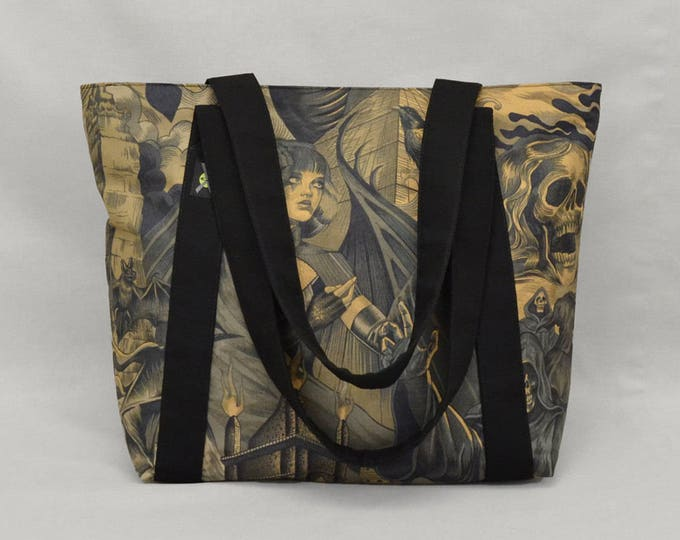 Fabric Tote Bag with Zipper and Pockets, Gothic Sorceress vs Grim Reaper, Black Brown