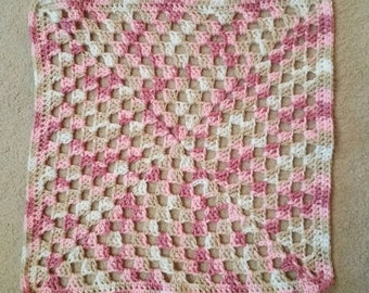 30% OFF! - Pink Granny Square Security Blanket - Ready to Ship