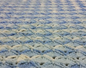 Blue and White Shell Crochet Baby Blanket - Ready to Ship