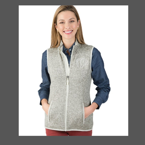 Women's Monogrammed Heather Vest in Grey