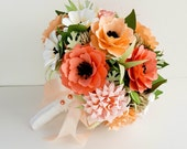 Paper Bouquet - Paper Flowers - Wedding Bouquet - Bridal Bouquet - Shades of Coral - Free Boutonniere - READY TO SHIP