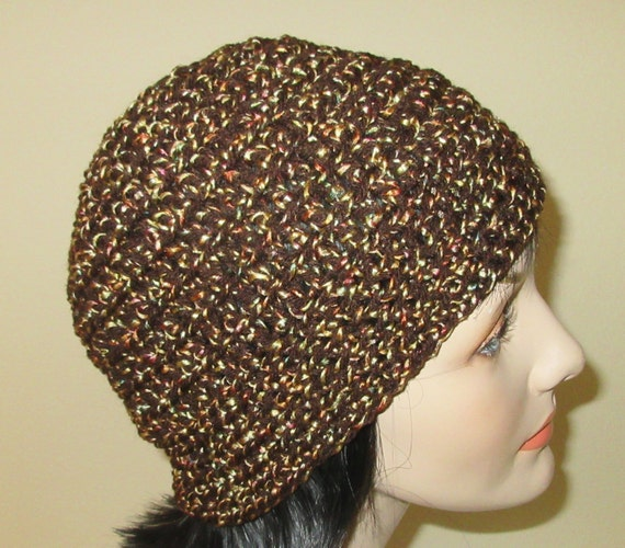 Brown Beanie with Specks of Color Throughout, Cold Weather Accessory, Brown Crochet Beanie, Brown Snow Hat, Ski Cap, Ice Skating