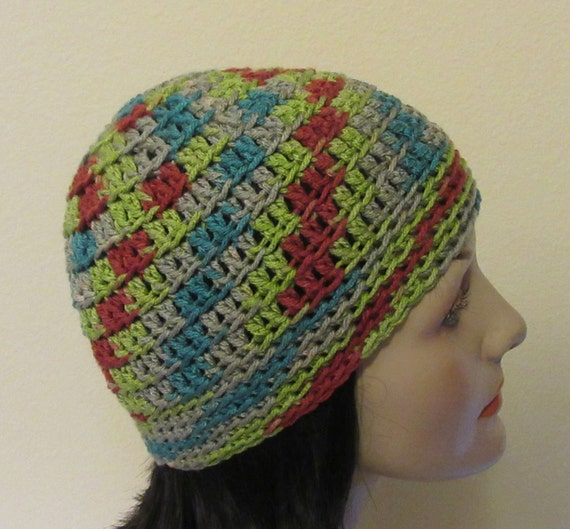 Red Green Grey Blue Beanie, Unisex Beanie, Cold Weather Hat, Snow Hat, Ski Cap, Ice Skating, Snow Playing