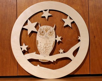 Owl Wall Art, Warm Pot Trivet, Pattern T13, Laser Engraved, Paul Szewc, Masterpiece Laser