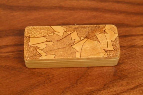 "Storage Box Leaves Pattern, 5"" x 2"" x 1"", Pattern ST8, Solid Cherry, Rare Earth Magnets, Small Money Box, Paul Szewc, Masterpiece Laser"