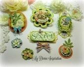 Graphic 45 Secret Garden Handmade Scrapbook Paper Embellishments, Paper Flowers for Scrapbooking Layouts, Cards, Mini Albums Paper Crafts