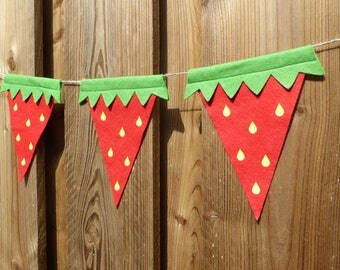 Strawbeery Bunting - made from red wool blend felt with gold glitter text, perfect for kids birthday, picnic and summer celebrations