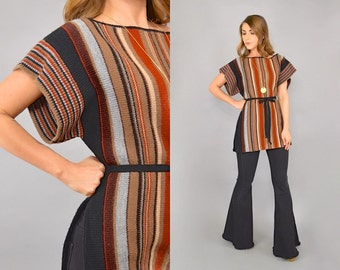 70's Striped Sweater Tunic Top