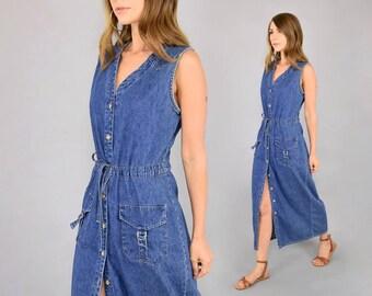 90's Denim Button-Down Duster Dress