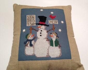 Cross Stitch, Finished Cross Stitch, Completed Cross Stitch, Cross Stitch Snowmen, Cross Stitch Pillow, Winter Cross Stitch