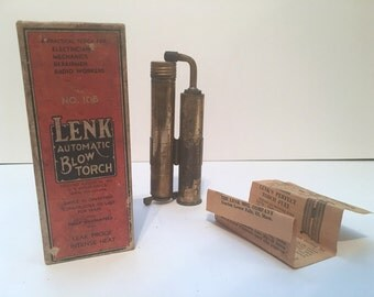 antique 1920s LENK Automatic Blow Torch, model no. 108 in original box with paperwork - The Lenk Alcohol Blotorch