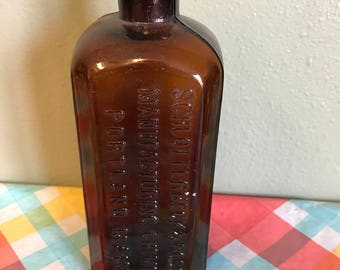 Antique Schlotterbeck & Foss Manufacturing Chemists Brown Glass Bottle