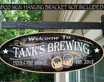 Personalized Beer Mugs Sign, Custom Beer Decor, Beer Gifts For Him, Bar Tavern Family Name Aluminum Custom Sign