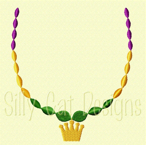Mardi Gras Beads with Crown Embroidery Design