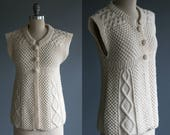 Vintage Irish Knit Wool Button Up Sweater / Vest / Top Women's Medium Large