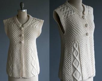 Vintage Irish Knit Wool Button Up Sweater / Vest / Top Women's Medium Large