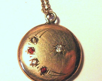 Vintage Gold Filled Moon/Star Locket wtih Red and Clear Stones W. N. Co.