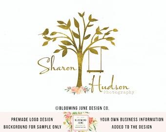 premade logo tree logo bird logo photography logo gold logo watercolor logo wedding planner logo event planner logo swing logo author logo