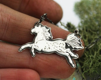 Tiny Appaloosa Necklace. Everyday Necklace. Horse Necklace. Sterling Silver Horse Jewelry. Equestrian Jewelry. Horse Totem Necklace.