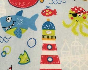 Oceans of fun  - Flannel Fabric - 13""