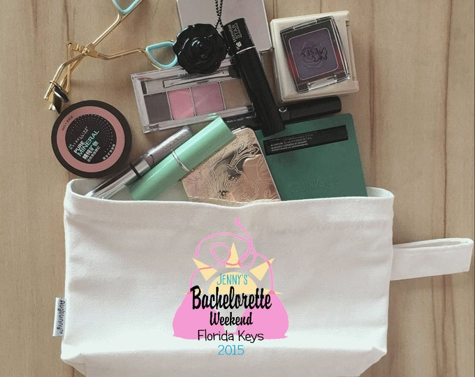 Bridal Party Makeup Bag, Clutch, Canvas, Bridesmaid Makeup Pouch, Wristlet, Customize Bachelorette Party