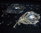 1pc Center Focal Point 18KGP Silver Plated Rhinestone Diamond Brooch Leaf Button Separators BR022 Spacers Bracelet Necklace Pendant DIY