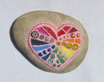 Rainbow Mosaic Heart Stone, pink grout