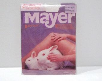 Mayer Pantyhose Vintage Bunny White Stockings Control Top Hosiery Sheer Leg Nylons Deadstock Sealed Package 1980s Legwear Cute White Rabbit