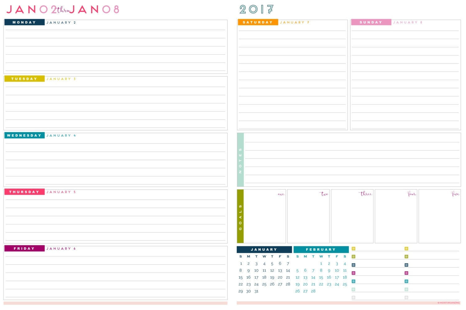 2017 Letter Size Weekly Planner Printable Pages INSTANT