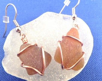 Copper wire wrapped beach glass earrings, amber brown triangles, hypoallergenic ear wires