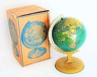Vintage World Globe c 1920s - Tin Litho Novelty Globe  with Re Enforced Original Box