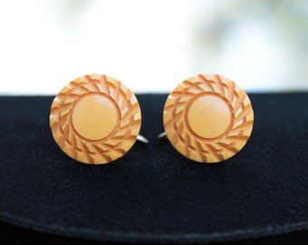 Pretty Butterscotch Bakelite Earrings, Nicely Carved