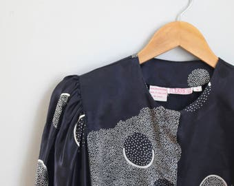 1980s black satin graphic print blouse - 80s blouse - big puffy sleeves / New Wave top - black satin blouse / 80s punk blouse