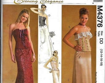 McCall's M4376 Laced Front Boned Bustier & Skirt Formal Evening Dress Sewing Pattern 4376 UNCUT Size 12, 14, 16, 18