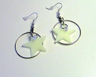 Earrings, Star Earrings, Star Hoop Earrings, Hoop Earrings, Dangle Earrings