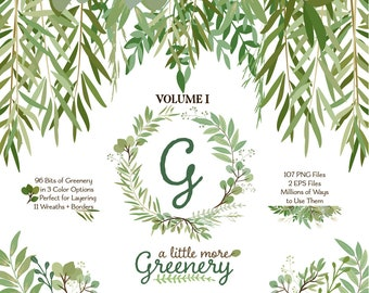 Greenery Clipart | Leaf ClipArt | Leaf Wreath, Botanicals for Stationery, Wedding Invites, and Products | Greenery Clip Art