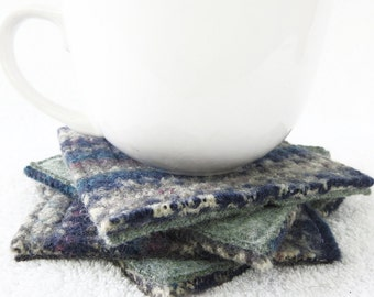 Coasters JEWEL TONES Fair Isle Recycled Mug Rugs Felted Wool Coasters Green Coasters Ecofriendly Home Decor Housewarming Gift by WormeWoole