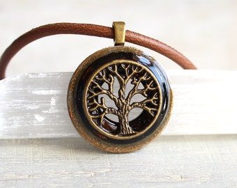 brown tree of life necklace, mens jewelry, unique gift, celtic jewelry, mens necklace, mens gift, elven jewelry, nature necklace, leather