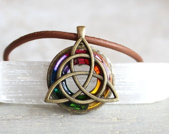 rainbow triquetra necklace, mens necklace, mens jewelry, celtic jewelry, irish jewelry, mens gift, celtic necklace, celtic knot, pride