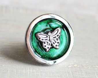 forest green butterfly drawer pull, decorative pull, cabinet knob, childrens room, dresser knob, dresser pull, drawer knob, kids decor