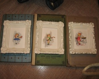Trio of The Wee Musicians Little Girls Playing Instruments by Lowell Chalkware Fancy Frame