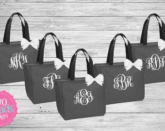 Zipper Bridesmaid Totes , Bridesmaid Gifts, Charcoal Totes, Gray Totes, Bridal Party Gift, Bridesmaid Tote Bag, Personalized Wedding Bag