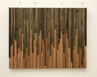 Wall Art - Wood Wall Art -  Rustic Wood Sculpture Wall Installation 46X36
